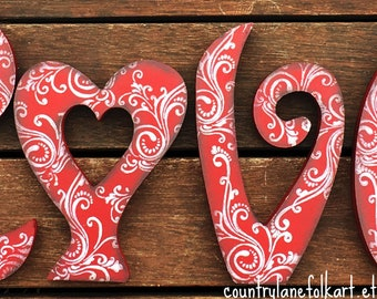 Love wood word, Valentines day gift for her, primitive home decor, best selling items wood, Valentines mantel decor, hand painted wood, red