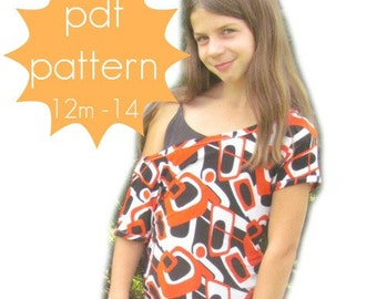 Trendy Tee - INSTANT download - off the shoulder - PDF Sewing Pattern -12m - 14 and doll/preemie