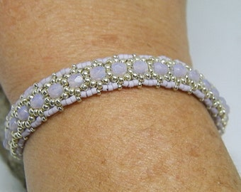 Purple and silver hand-woven bracelet