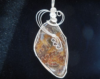 Ammonite fossil pendant, wire wrapped in .925 sterling silver