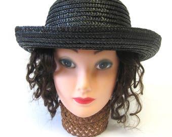 Black Straw Boater Hat Millinery, Womens Sun Hat