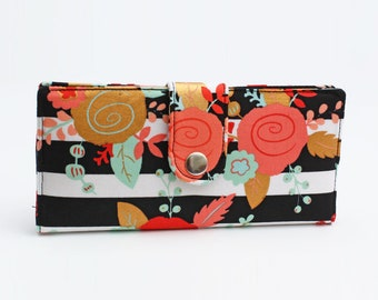 Bifold Organizer Wallet, Credit Card Wallet, Women's Long Wallet, Floral Fabric Wallet, Smart Phone Wallet - gold pink roses black stripes