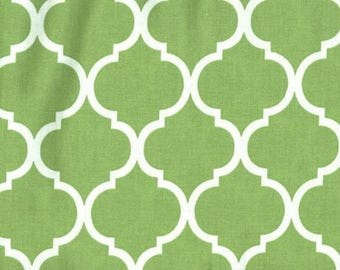 Quatrefoil Fabric White on Citrus Green 100% Cotton