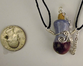 Tiny bottle Oil Diffuser Necklace  Hand Sculpted OoAK  (H)