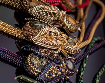 Bolo beetle tie beading made to order. Beadwork beetle. Jewelry tie bolo