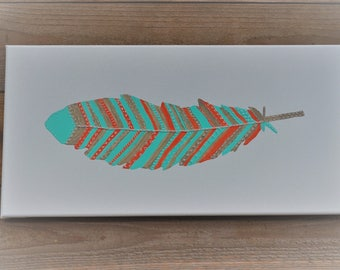 Feather Painting, Mixed Media Art