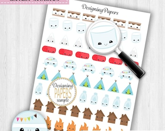 Camping Planner Stickers, Stickers For Planners, Printable Planner Stickers, Summer Camp Stickers