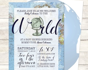 Blue Welcome to the World Baby Shower Invitation Printable, Boy Welcome to the World Shower, Boy Meets World Baby Shower, Around the World