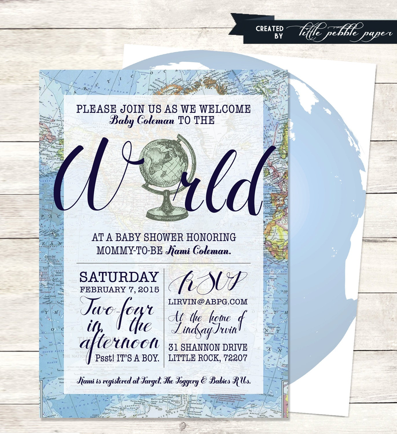 Blue Welcome to the World Baby Shower Invitation Printable