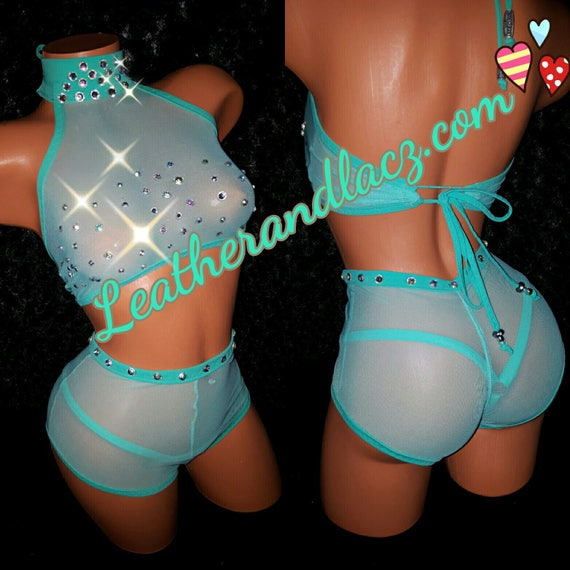 Butterflied High Waist Scrunch butt shorts, Crop Top, Thong, And booty shorts Hi-Waist.  Authentic crystals w/Tiffany settings used on top.