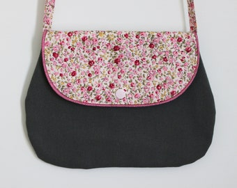 Small chic khaki and floral bag for girl