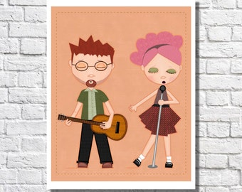 Music Nursery Art Print Music Clasroom Decor Children's Artwork Little Girl Room Ideas Pictures For Playroom Cute Kids Illustration Singing