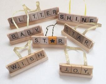 Glitter Xmas Decor, Shine Ornament, Christmas Star Decor,Scrabble Letter Art, Holiday Wish Xmas, Hope Gift,Joy Ornament Decor,Christmas Gift
