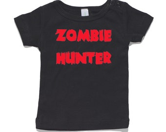 Zombie Hunter Baby T-Shirt 100% Cotton white and black 0-24 months sizes funny newborn birth