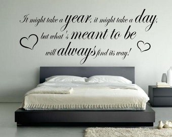 Wall decal What's meant to be wall sticker Love vinyl bedroom love quote newly weds 60 colors