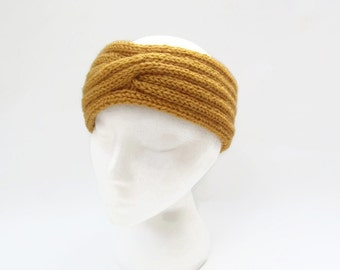 knitted   headband mustard  women  ear warmer Turban ear warmer