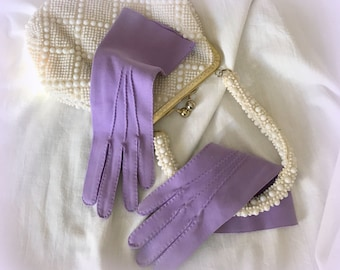 """60s Lavender Hand-Stiched Gloves - 4 Button Length - Size 6.5 with """"Stretch"""" - Absolutely Lovely"""