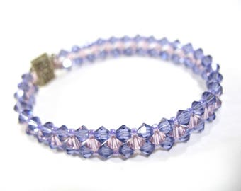 Crystal Quartz Beaded Bracelet, Sterling Box Clasp, Orchid and Pink Color, Translucent, Smaller Wrist, Gift Idea, Mother's Day, Excellent