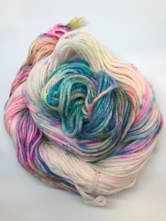 Me to a T - 50g 100% Superwash Merino DK double knit yarn, hand dyed in Scotland, variegated, blue, pink, yellow