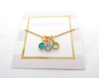Gold Birthstone Charm Necklace for Mom-Mother's Day Jewelry-Gifts for Mom from children-Children's birthstones—Nana, Mimi, Gigi, Grandma