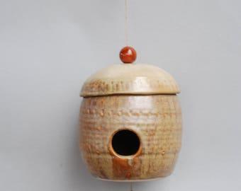Pottery bird house. Bird house. Ceramic bird house.