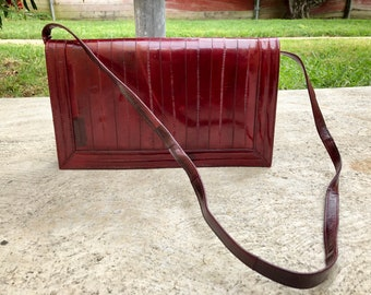 80s Eel Skin Leather Shoulder Purse, Burgundy, Wine (W)