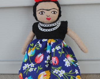 Tiny Frida Doll/ Doll Brooch/ Frida Kahlo Doll/ Miniature Doll
