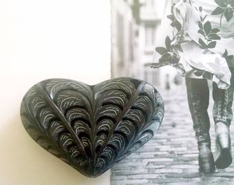 Large Vintage Heart Box Carved Black Soapstone Hinged Lid Modern Romance