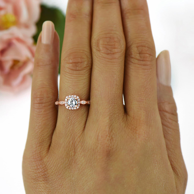 3 4 Ctw Halo Engagement Ring Man Made Diamond Simulants Art