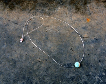 Invisible pink elastic silicone collar in Amazonite 8mm