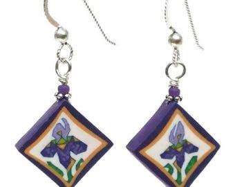 Quilted in Clay! Purple Earrings - Iris Earrings - Sterling Earrings - Gift for Quilter - Purple Iris Earrings - Iris Art - Polymer Earrings
