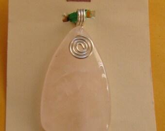 ROSE QUARTZ healing gemstone made pendant / necklace pretty !!