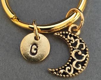 Moon keychain, moon charm, outer space keychain, personalized keychain, initial keychain, initial char, customized, monogram