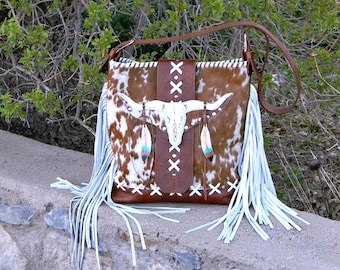 Longhorn Animal Skull Bag Leather Hair On Modern Western Cowhide Handbag Southwest Brown White Fringed Riveted Purse Longhorn Skull Closure