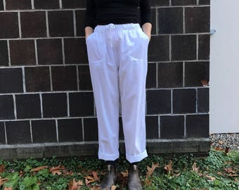 High Waisted White Pants