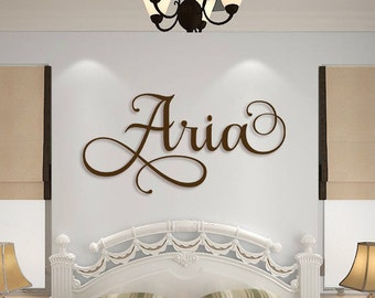 Wooden Name Sign Wall Hanging Letters for Nursery or Bedroom - Wooden Wall Art - Custom Name Plaque Cut Out - Personalized Cursive Name