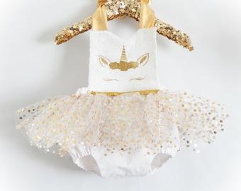 Golden Glam Unicorn Romper / Unicorn Romper / Unicorn Sequin Romper / First Birthday Romper