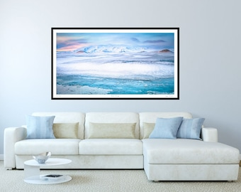 Panoramic Art, Panorama Blue, Iceland Panorama, Iceland, Extra large wall art, Oversized art print, huge wall art, Crionna,