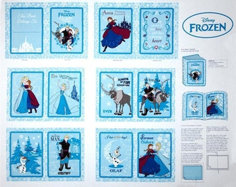 Disney Christmas Fabric: Disney Frozen Elsa and Anna Soft Book Panel, Fabric book, Cloth book 100% cotton Fabric by the PANEL  (SC321)