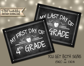 First Day of 4th Grade   PRINTABLE 4th Grade Signs, 4th Grade Milestone Chalkboard Prop, First Day of School, Last Day of School, Class Sign