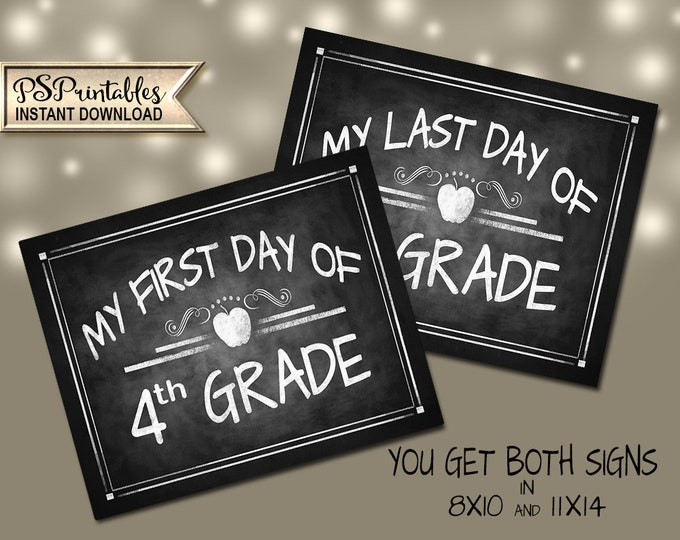 First Day of 4th Grade | PRINTABLE 4th Grade Signs, 4th Grade Milestone Chalkboard Prop, First Day of School, Last Day of School, Class Sign