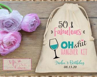 Hangover Kit Birthday 50 & Fabulous Muslin favor Bag - Mini Favor bag - -Recovery kit bag -custom muslin bag-Survival Kit bags