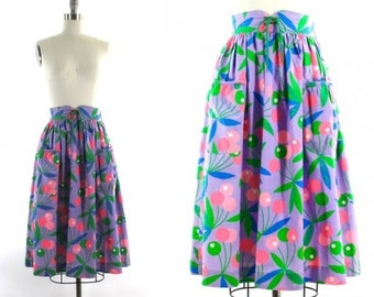 1980s high waist skirt •  cherry print skirt •  purple & pink skirt • skirt with pockets XS