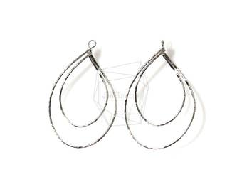 PDT-1086-R/2PCS/Hammered Double Teardrop Hoop Pendant/32mm x 50mm/Rhodium Plated over Brass