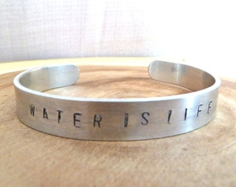 Water is Life Hand Stamped Adjustable Cuff Bracelet - All Proceeds to the Native American Rights Fund - Water Protector - Standing Rock