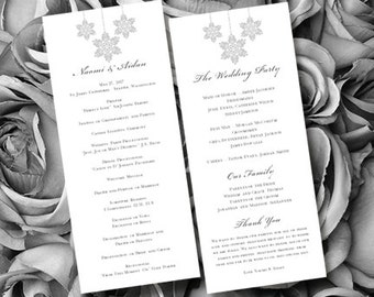 "Wedding Ceremony Program Template Tea Length ""Winter Snowflakes"" Silver Gray 