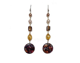 Earrings Brown, beige and gold - tone 9.5 cm