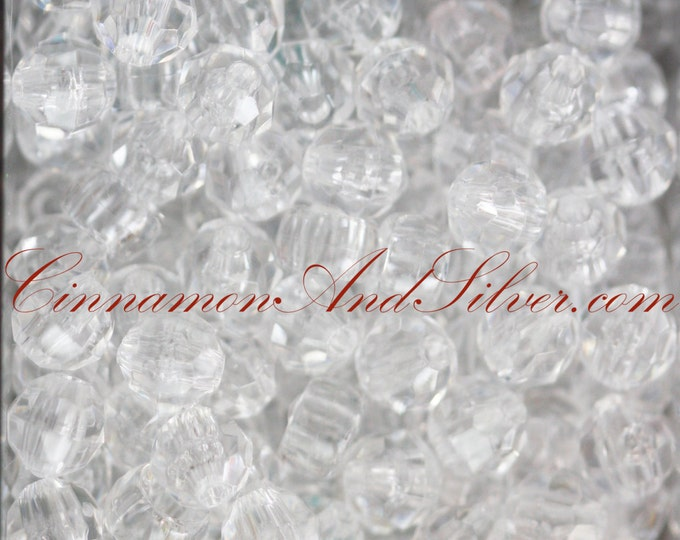 30 Pack Crystal Clear, Medium Round Faceted Plastic Beads for Jewelry Crafts, 6mm by The Beadery