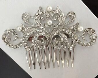 wedding hair comb, wedding comb, bridal comb, bridal hair comb, wedding hair accessories, vintage comb, crystal comb, pearl comb