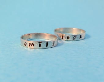 Sterling Silver Name Ring, personalised name stacking rings, sterling silver band ring, family ring